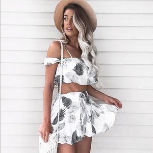 Leaf Crop Top and Skirt Set